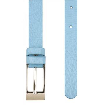Женский ремень узкий голубой кожаный