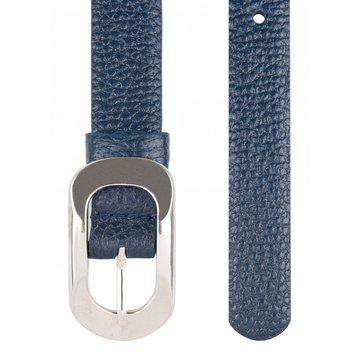 женский узкий кожаный ремень (синий)