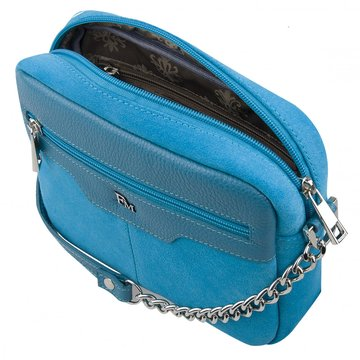 сумка женская замшевая через плечо (голубая)