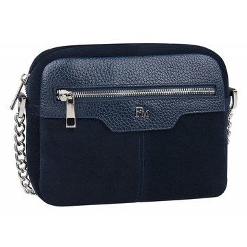 сумка женская замшевая через плечо (тёмно-синяя)