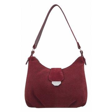 сумка женская замшевая с тиснением (бордовая)