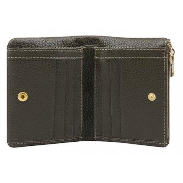 женский кожаный кошелек в одно сложение (хаки)