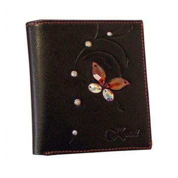 женский кожаный кошелек (черно-розовый) 0-525(СВ) черн/роз