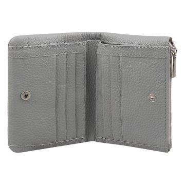 женский кожаный кошелек в одно сложение (серый)