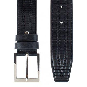 Мужской кожаный ремень чёрный с тиснением