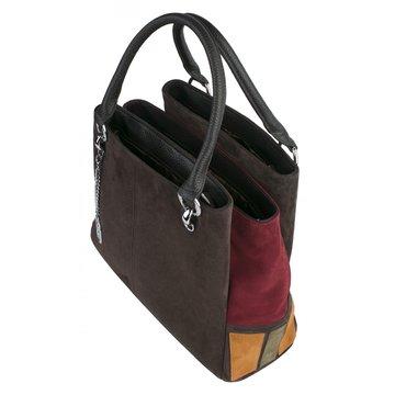 Женская замшевая коричневая сумка на двух ручках