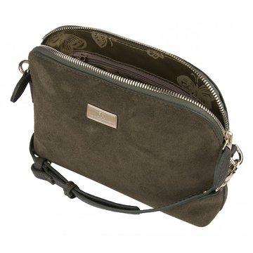 сумочка женская замшевая через плечо (хаки)