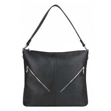 Женская чёрная сумка из натуральной кожи на плечо