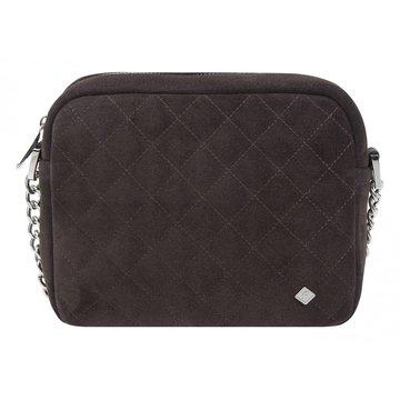 сумка женская замшевая через плечо (коричневая)