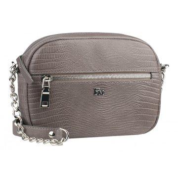 Женская сумочка через плечо на цепочке кожаная капучино