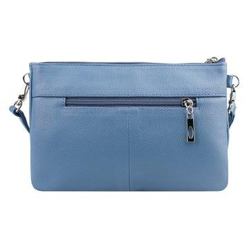 Женская голубая сумка через плечо экокожа