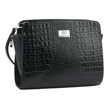 Женская чёрная сумка кожаная под крокодила через плечо
