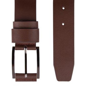Мужской кожаный ремень классический коричневый