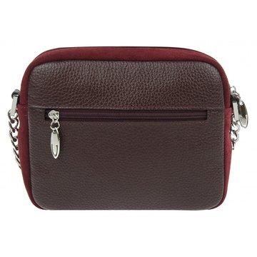 Маленькая замшевая темно-красная сумочка на цепочке
