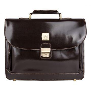 Мужской кожаный портфель коричневый глянцевый
