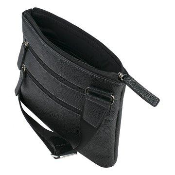 Мужская сумка через плечо из натуральной кожи квадратная