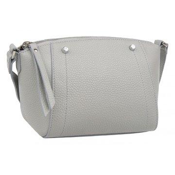 Женская сумка через плечо кожаная серая