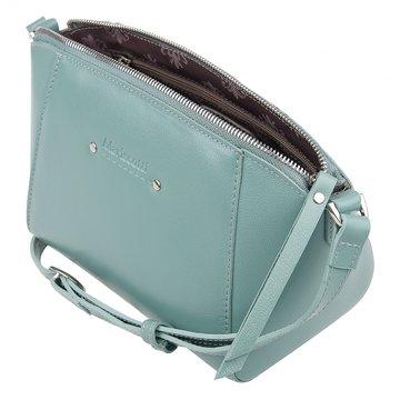 Женская сумка через плечо кожаная мятная