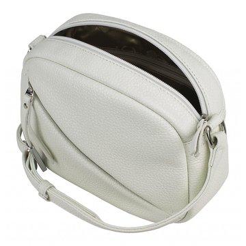 Женская белая сумка через плечо из натуральной кожи