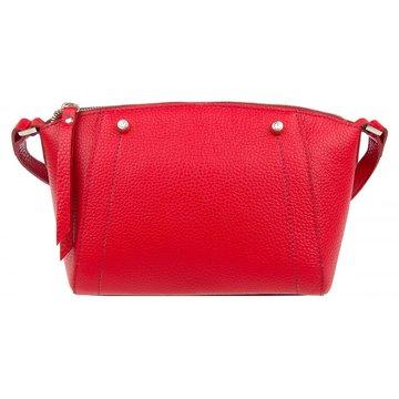 Женская сумка через плечо кожаная красная