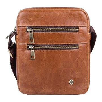 Мужская сумка через плечо кожаная светло-коричневая