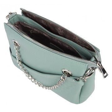 Женская мятная сумка из натуральной кожи с ручками-цепочками
