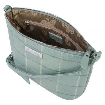 Женская мятная кожаная сумка через плечо