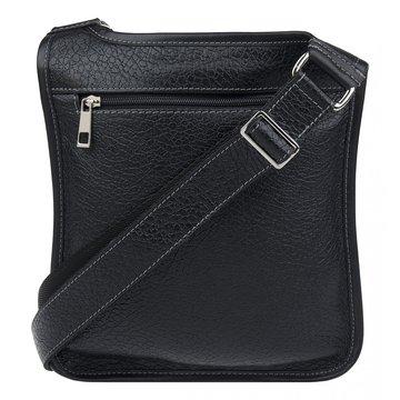 Мужская сумка через плечо плоская из натуральной кожи