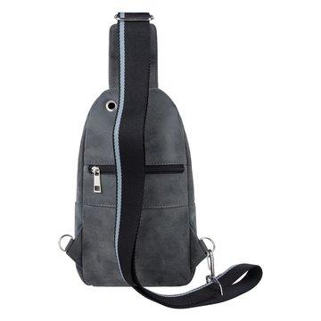 Мужская нагрудная сумка из экокожи серая