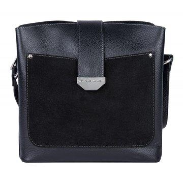 Женская чёрная квадратная сумка из натуральной кожи и замши