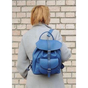 рюкзак голубой кожаный «лагуна»