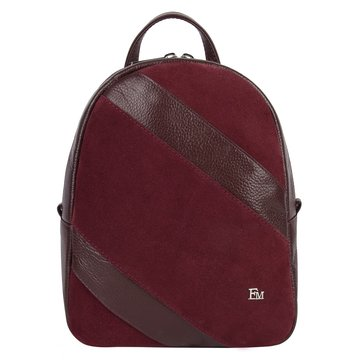 Замшевый женский городской рюкзак тёмно-красный
