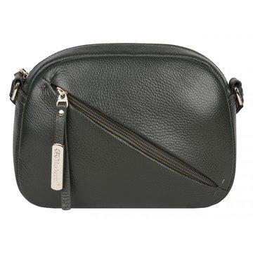 Женская сумка из натуральной кожи цвета хаки через плечо