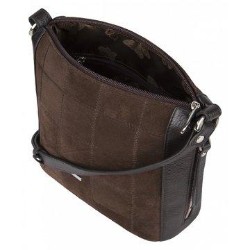 Женская замшевая коричневая сумка через плечо