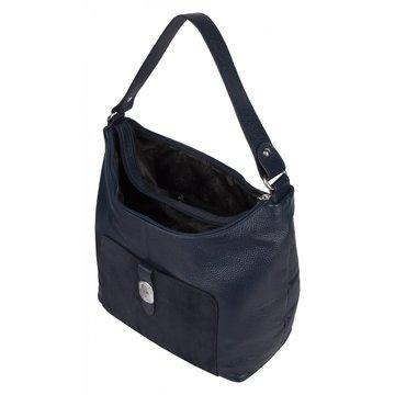 Женская кожаная сумка на коротком ремне синяя