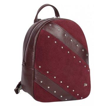 Замшевый женский городской рюкзак темно-красный