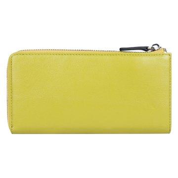 Женский кожаный кошелек на полную купюру желтый на молнии