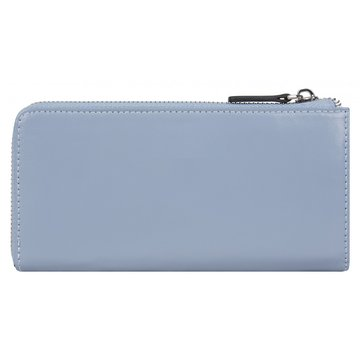 Женский кожаный голубой кошелёк на молнии