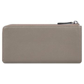 Женский кожаный кошелёк на молнии цвета капучино