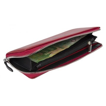Женский красный кожаный кошелёк на молнии