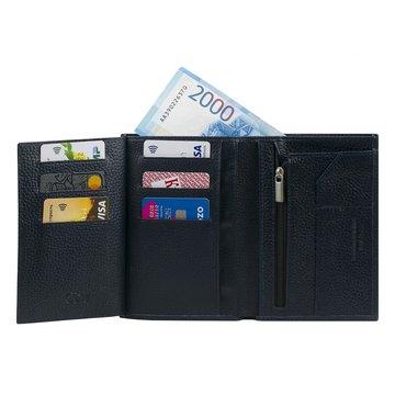 Мужской кошелёк кожаный чёрный вертикальный без кнопки