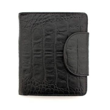 мужской кожаный кошелек (черный) 0-203В фл кайман