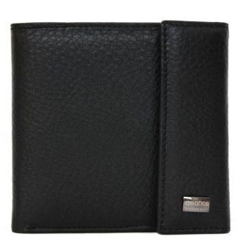 мужской кожаный кошелек (черный) 0-202В фл