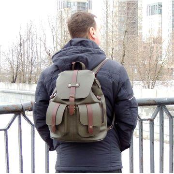 зеленый кожаный рюкзак «кипарис»