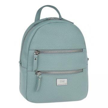 рюкзак женский из натуральной кожи (серо-зелёный)