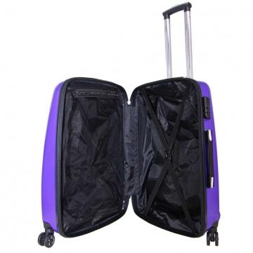 чемодан пластиковый на 4-х колёсах, 62 литра (фиолетовый)