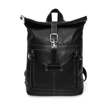 городской кожаный рюкзак черный «час пик» формата а4