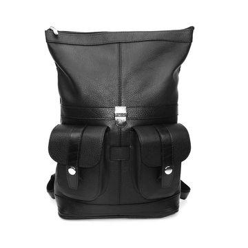 черный кожаный рюкзак «марина» формат а4