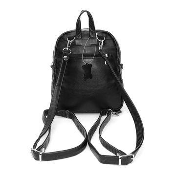 рюкзак-сумка кожаный черный «соло»