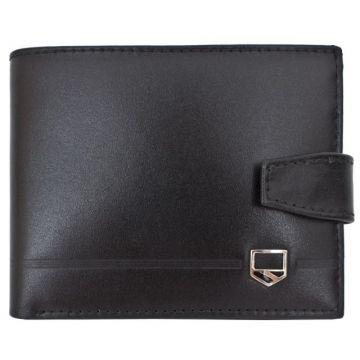 мужской кожаный кошелек (черный) 0-228FM равнина
